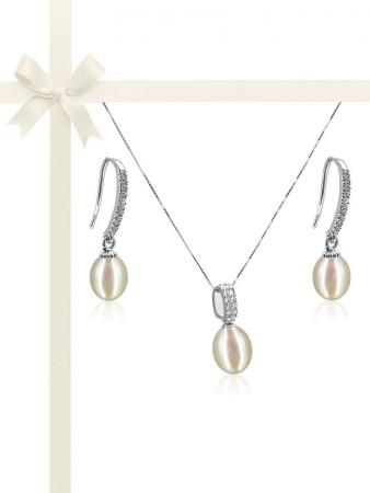SULU SEA COLLECTION Contemporary White Diamond Drop Pearl Pendant & Earring Gift Set D