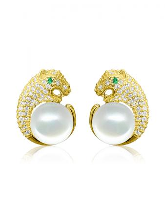 TARA ISLAND COLLECTION Wild Cougar Brilliant-Cut Diamond Encrusted White Pearl Earrings