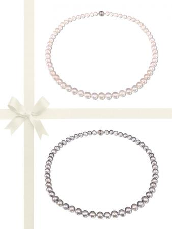 BUA BAY COLLECTION White & Silver-Gray 7-8mm Pearl Necklace Gift Set