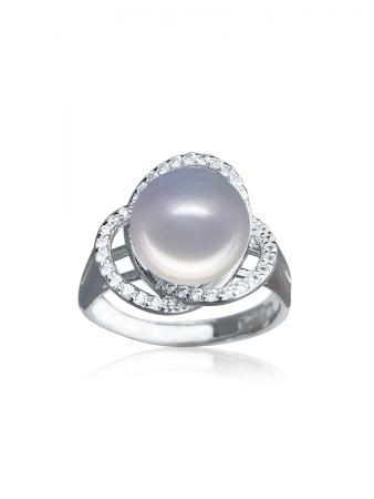 ROSE ATOLL COLLECTION Harmony Diamond Encrusted Silver Pearl Ring